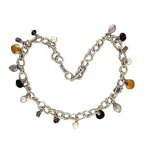 Michael Dawkins 17 1/2 In Multi Color Freshwater Pearl Smoky Quartz Necklace