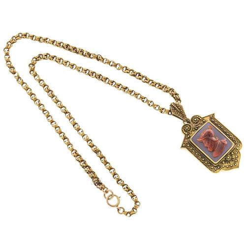 Victorian 1850s 14k Carnelian Hardstone Pendant Locket Necklace 20 1/4 In Chain
