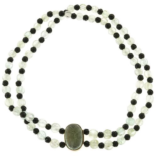 Vintage English 1920'S Art Deco Natural Carved Aqua 200ct Onyx 2 Strand Necklace