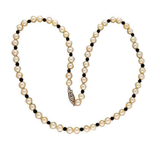 Vintage 24 In 7.3mm Japanese Akoya Cultured Pearl 4mm Round Onyx Bead Necklace