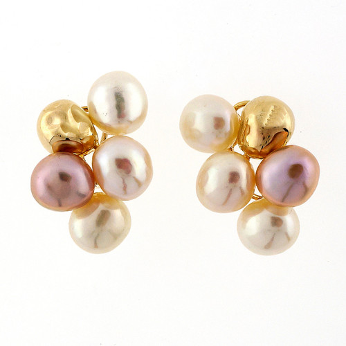 8 Chinese Cultured Pearl Yellow Gold Clip Post Earrings