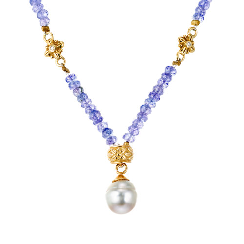 AGL Certified Purple Tanzanite South Sea Pearl Diamond Yellow Gold Necklace