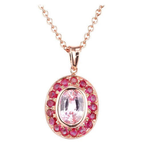 1.71 Carat Pink Sapphire Ruby Halo Rose Gold Pendant Necklace