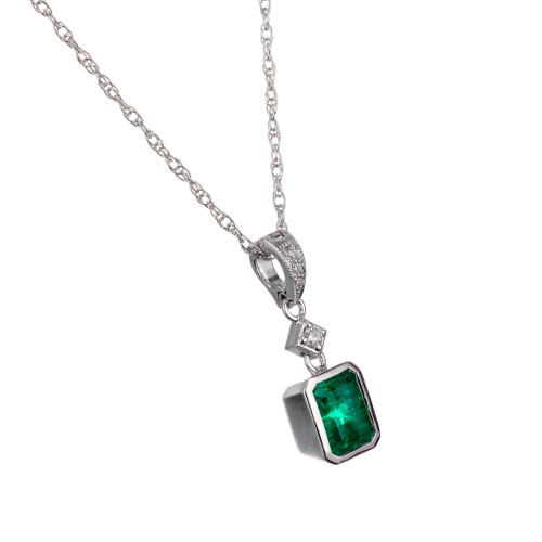 Peter Suchy GIA Certified .94 Carat Emerald Diamond Gold Pendant Necklace