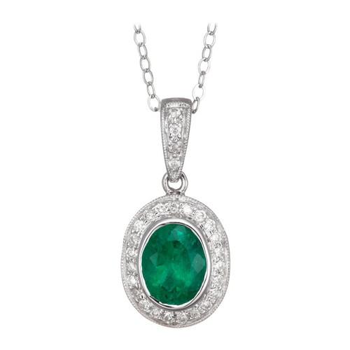 1.14 Carat Emerald Diamond Halo Diamond White Gold Pendant Necklace