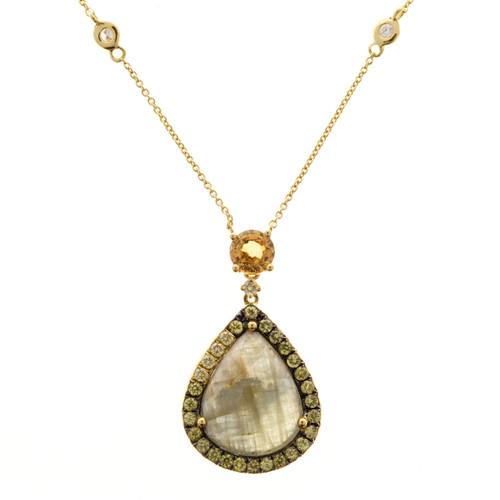 Vintage 5.27CT Pear Fancy Blue Gray Yellow Sapphire Diamond 18K Gold Pendant