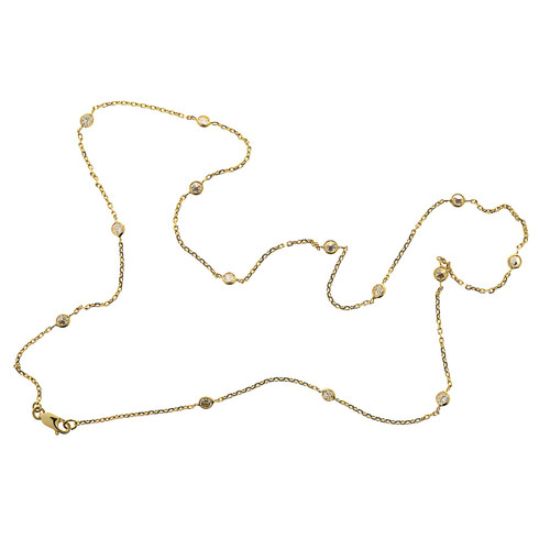 1.00 Carat Diamond Yellow Gold  By The Yard Necklace