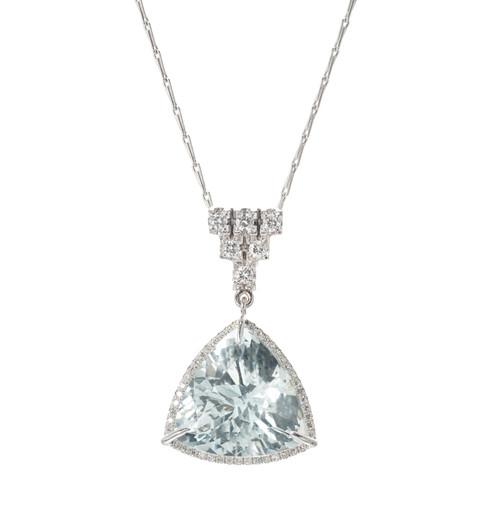 11.83ct Aqua Full Diamond 14k White Gold Pendant Necklace