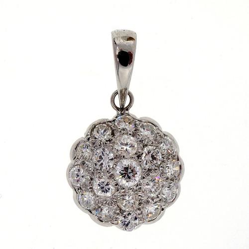Art Deco .41 Carat Diamond Platinum Domed Pendant