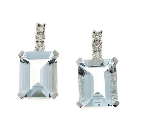 4.00 Carat Aqua Diamond White Gold Drop Earrings