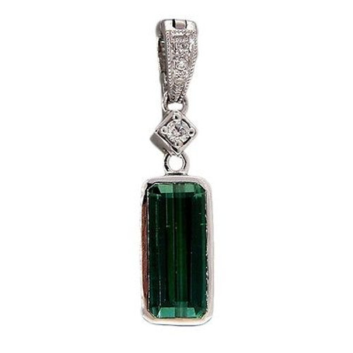 Vintage 1.34ct Tourmaline .06ct Diamond Pendant Enhancer 14k white gold