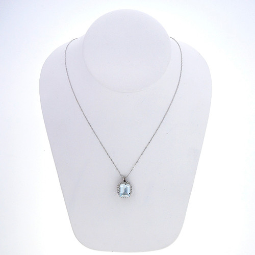 4.30 Carat Aqua Diamond White Gold Pendant