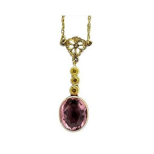 Estate 18k Gold Pink Tourmaline & Natural Fancy Canary Yellow Diamond Pendant