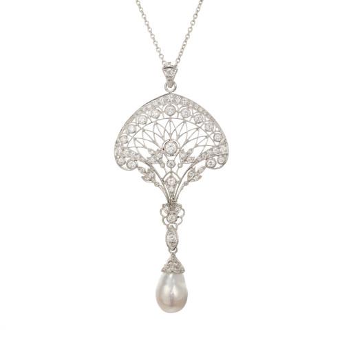 Estate 1930s Platinum Edwardian South Sea Baroque Pearl Pave Diamond Pendant