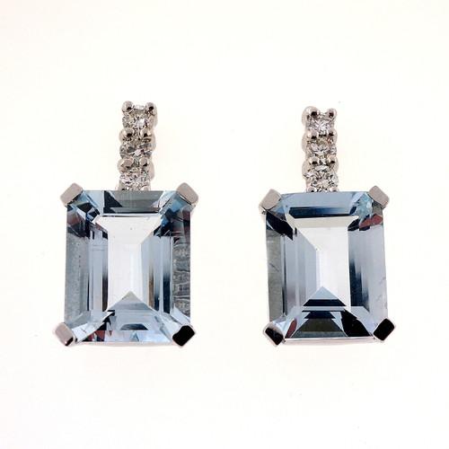 6.00 Carat Aqua White Gold Diamond Drop Earrings