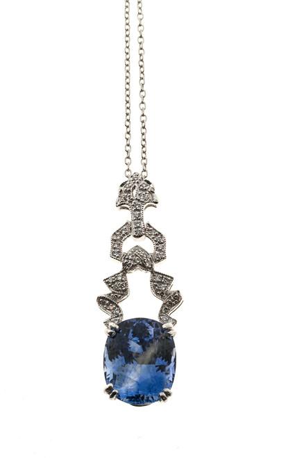 Vintage 6.65ct Periwinkle Blue Ceylon Sapphire Art Deco 1920s Platinum Pendant