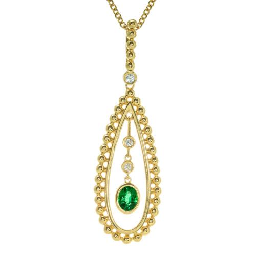 Peter Suchy GIA Certified .30 Carat Emerald Diamond Yellow Gold Pendant