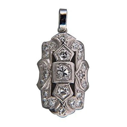 1940s Art Deco .30ct Nice Bead Set Diamond Original Pierced White Gold Pendant