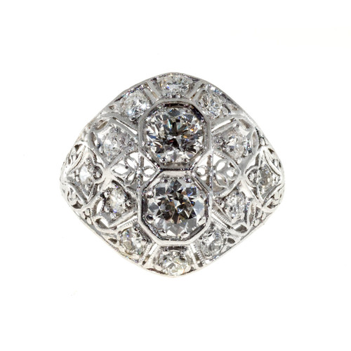Antique Art Deco .88 Carat Diamond Platinum Dome Ring