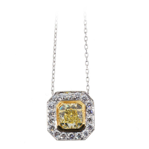 Peter Suchy Vintage Diamond Canary Fancy Yellow Platinum Gold Pendant Necklace