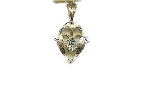 Estate 1890s 14k Yellow Gold & Engraved Platinum Top Old Mine Diamond Pendant
