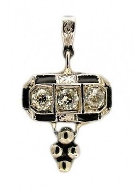 Estate 1920s Art Deco Platinum Black Enamel European Cut Diamond Pendant