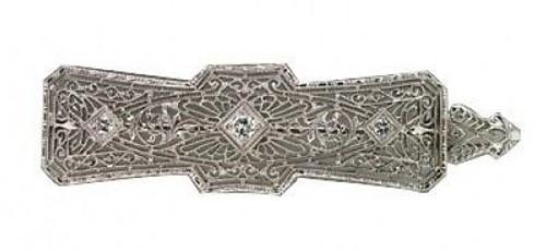 Vintage 1930 Edwardian Art Deco Platinum Top Filigree14k White Gold Pin Pendant
