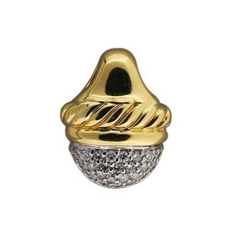 Estate David Yurman 18k Yellow Gold 24 Pave Set Diamond Slide Pendant
