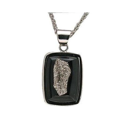 Estate 14k White Gold Collectors Grade Black Agate Druzy Platinum Pendant Chain
