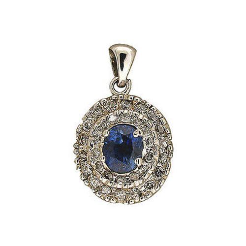 Vintage 1960s White Gold Medium Oval Sapphire 32 Full Cut Tiered Diamond Pendant