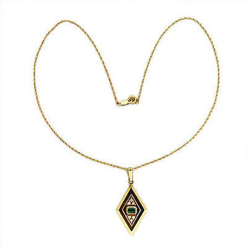 Vintage  Fine Columbian Deep Green Emerald Retro 14k Gold Diamond Pendant Chain