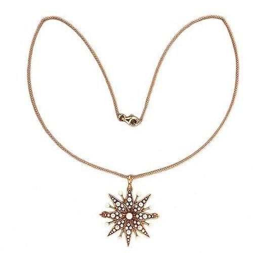Krementz 1900 14k Pink Gold Star Pearl Pin Pendant