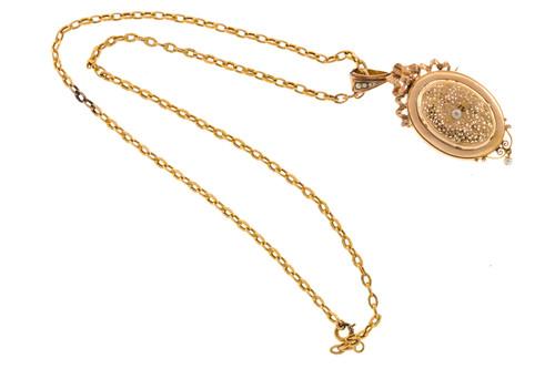 Estate 1870s 18k Pink Gold Ribbon Filigree Natural Pearl Pin/Pendant Locket