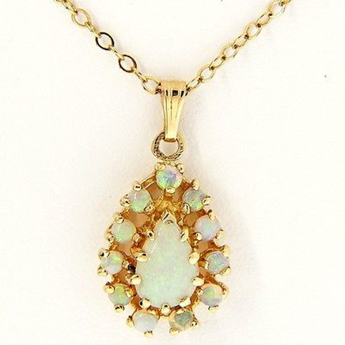 Vintage Round Pear .80ct Blue Green Opal Pendant 14k Yellow Gold