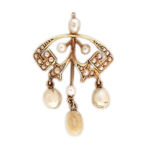 Vintage Victorian Patina 14k Pink Gold 29 Natural Pearl Pendant Circa 1900s