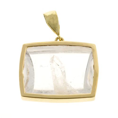 Vintage Rare 32.03ct Quartz Manifestor Lens Cut Crystal 18k Gold Frame Pendant