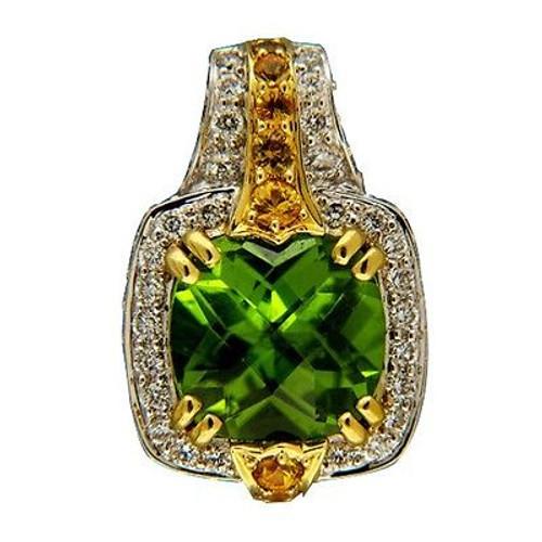 Vintage Charles Krypell 18k Gold 4.02ct Peridot Yellow Sapphire Diamond Pendant
