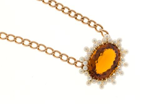 Vintage Victorian 1900 14k Pink Gold 11.00ct Orange Yellow Citrine Pearl Pendant