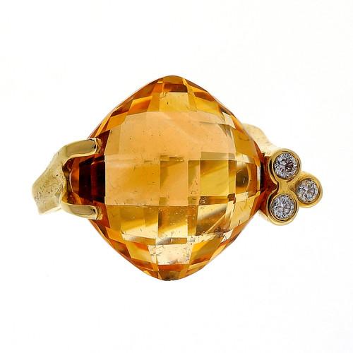 8.00 Carat Orange Yellow Citrine Diamond Yellow Gold Ring