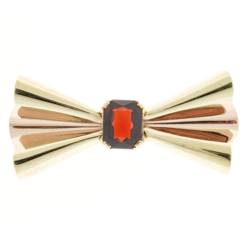 Vintage Retro Tiffany + Co 14k Pink and Green Gold Garnet Folded Bow Pin
