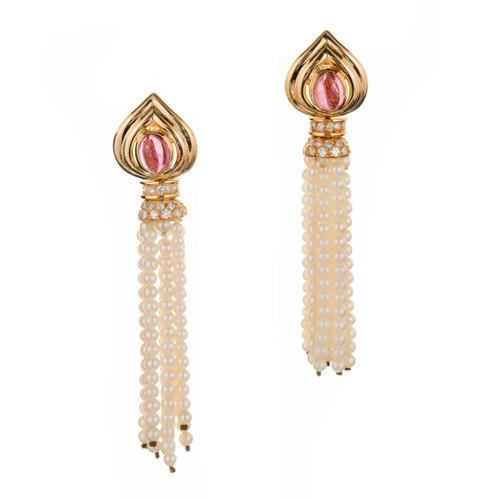 2.00 Carat Pink Tourmaline Diamond Pearl Tassel Dangle Earrings