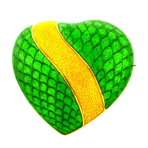 Tiffany + Co 18k Yellow Gold Green Yellow Enamel Heart Pin