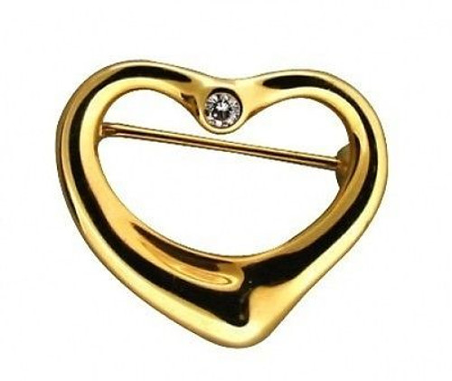 Estate 18k Yellow Gold Designer Tiffany & Co Else Peretti Diamond Heart Pin