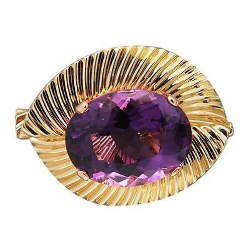 Vintage 20.00ct Purple Oval Amethyst 14k Gold Swirl Double Stem Clip Pin