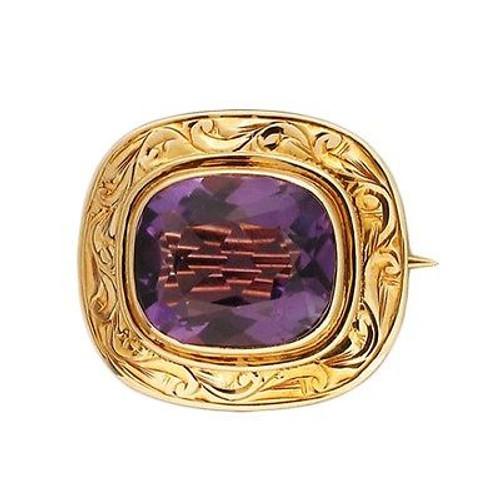 Vintage Fine Purple Amethyst 5.60ct Cushion 14k Gold Engraved Pin Stem Catch