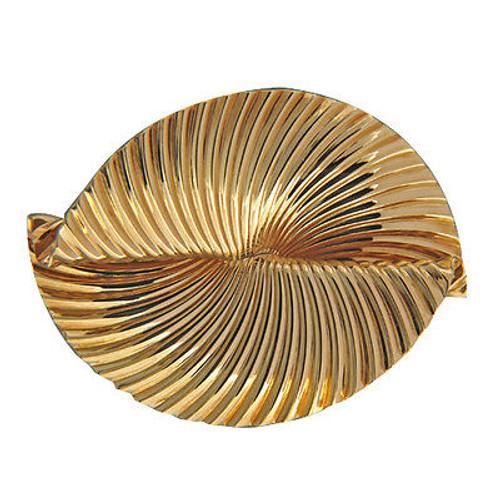 Vintage Designer Tiffany + Co 18k Folded Gold Swirl Double Stem Gold Clip Pin
