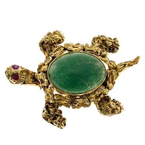Estate 14k Textured Yellow Gold 1950's Ruby Eyes Oval Chrysophase Turtle Pin