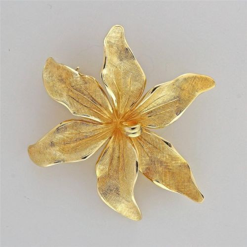 Vintage 1960 Tiffany + Co 14k Germany 3D Textured Flower Pin