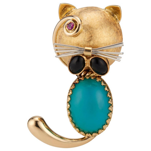 .10 Carat Ruby Turquoise Onyx Yellow Gold Cat Brooch