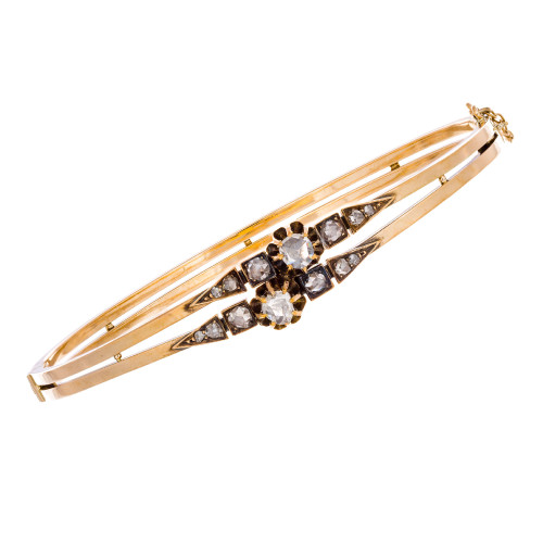 Rose Cut .25 Carat Diamond Bangle Bracelet